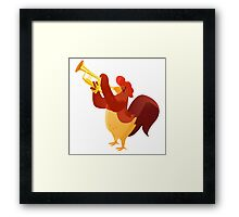 Funny cartoon rooster playing trumpet Framed Print
