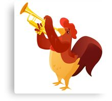 Funny cartoon rooster playing trumpet Canvas Print
