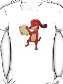 Cute happy cartoon dog playing tambourine T-Shirt