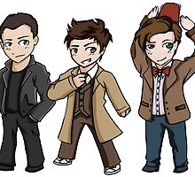 Superwholock - Doctor Who Chibis by houndtails