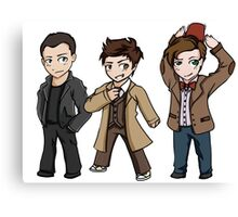 Superwholock - Doctor Who Chibis Canvas Print