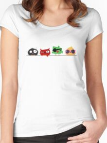 Four funny cute birds Women's Fitted Scoop T-Shirt
