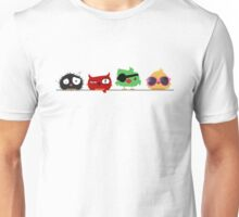 Four funny cute birds Unisex T-Shirt