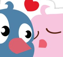 Two cartoon birds kissing Sticker
