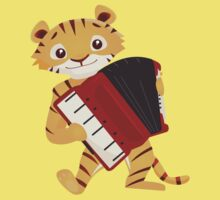 Cartoon tiger playing music with accordion Kids Clothes