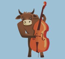 Funny ox playing music with cello Kids Clothes