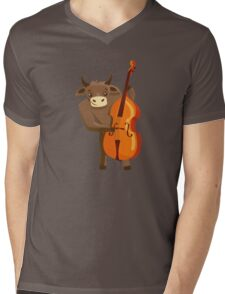 Funny ox playing music with cello Mens V-Neck T-Shirt