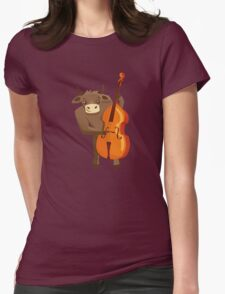 Funny ox playing music with cello Womens Fitted T-Shirt