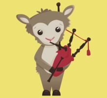 Cartoon sheep playing music with bagpipe Kids Clothes