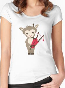 Cartoon sheep playing music with bagpipe Women's Fitted Scoop T-Shirt