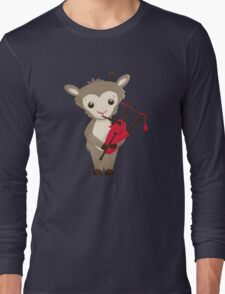 Cartoon sheep playing music with bagpipe Long Sleeve T-Shirt