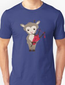 Cartoon sheep playing music with bagpipe Unisex T-Shirt