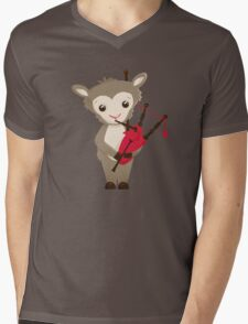 Cartoon sheep playing music with bagpipe Mens V-Neck T-Shirt