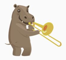 Funny hippo playing music with trombone One Piece - Long Sleeve