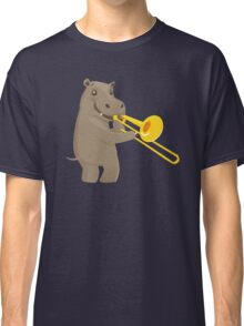 Funny hippo playing music with trombone Classic T-Shirt
