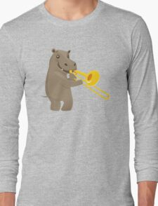 Funny hippo playing music with trombone Long Sleeve T-Shirt