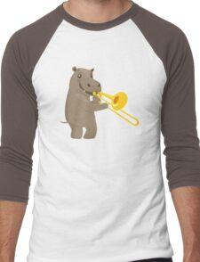Funny hippo playing music with trombone Men's Baseball ¾ T-Shirt