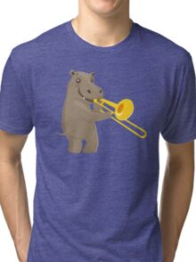 Funny hippo playing music with trombone Tri-blend T-Shirt