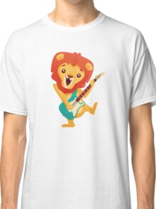 Cartoon lion playing music with electric guitar Classic T-Shirt