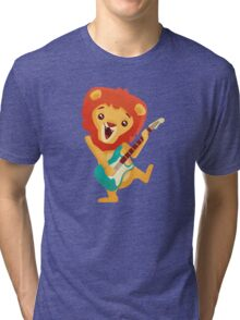 Cartoon lion playing music with electric guitar Tri-blend T-Shirt