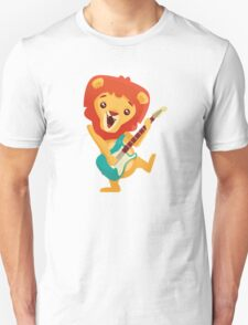 Cartoon lion playing music with electric guitar Unisex T-Shirt