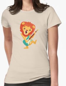 Cartoon lion playing music with electric guitar Womens Fitted T-Shirt