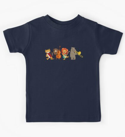 Four funny animals playing in a band Kids Tee