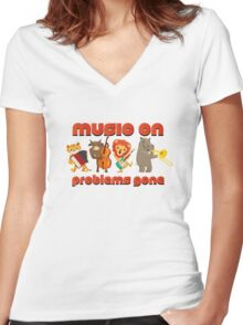 Music on - problems gone! Women's Fitted V-Neck T-Shirt