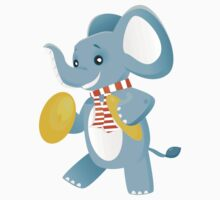 Happy elephant playing music with cymbals Kids Clothes
