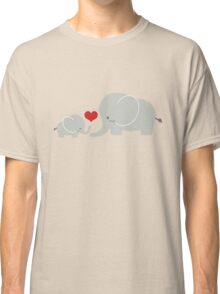 Baby and parent elephant with heart Classic T-Shirt