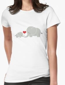 Baby and parent elephant with heart Womens Fitted T-Shirt