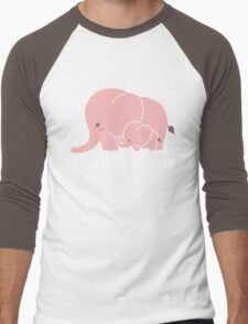 Pink elephant mother and baby Men's Baseball ¾ T-Shirt