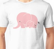 Pink elephant mother and baby Unisex T-Shirt