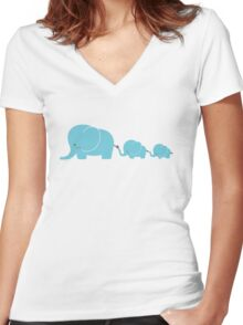 Elephant family following each other Women's Fitted V-Neck T-Shirt