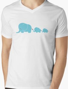 Elephant family following each other Mens V-Neck T-Shirt