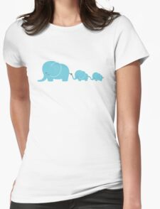 Elephant family following each other Womens Fitted T-Shirt