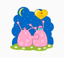 Couple of cute pink monsters looking at the moon Unisex T-Shirt
