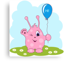 Cute pink monster says you hi Canvas Print