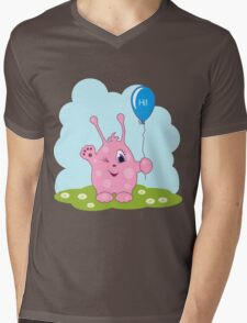 Cute pink monster says you hi Mens V-Neck T-Shirt