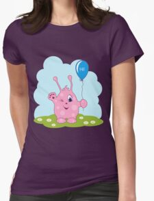 Cute pink monster says you hi Womens Fitted T-Shirt
