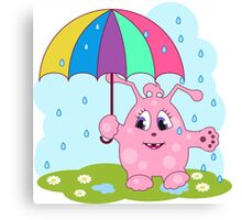 Cute pink monster with umbrella Canvas Print