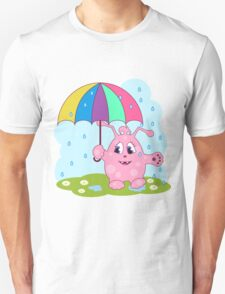 Cute pink monster with umbrella T-Shirt