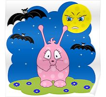 Scared cute pink monster Poster