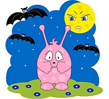 Scared cute pink monster Photographic Print