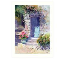Sunlit Door with Geraniums Art Print