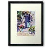 Sunlit Door with Geraniums Framed Print
