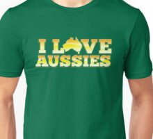 I love AUSSIES! with Australian map Unisex T-Shirt