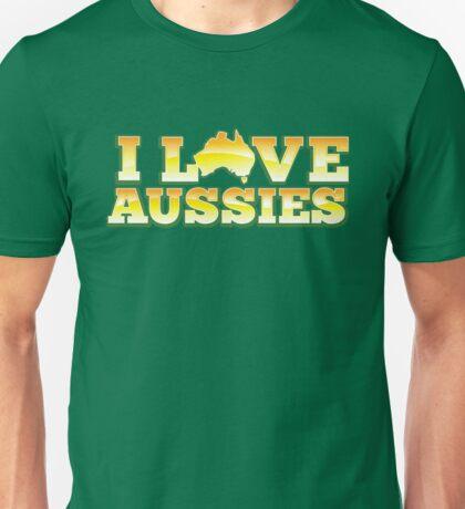 I love AUSSIES! with Australian map Unisex T-Shirt