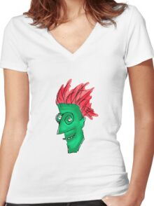 Crazy Man Drawing  Women's Fitted V-Neck T-Shirt