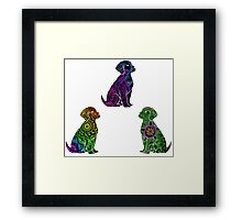 Tie Dye Cute Puppies Pack 2(Inverted Option) Framed Print